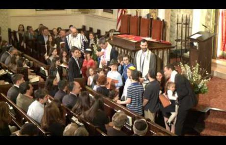 A Rabbi Blesses the Children of his Congregation